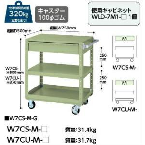【ポイント5倍】 【代引不可】 山金工業 ヤマテック ワゴン W7CS-M-G 【メーカー直送品】