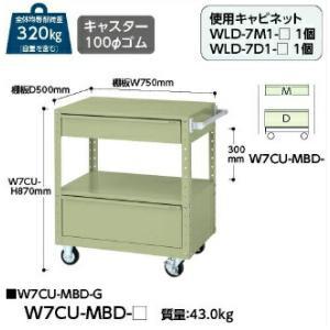 【ポイント5倍】 【代引不可】 山金工業 ヤマテック ワゴン W7CU-MBD-G 【メーカー直送品】