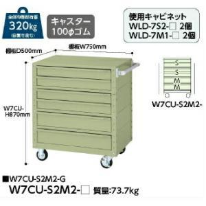 【ポイント5倍】 【送料無料】【代引不可】 山金工業 ヤマテック ワゴン W7CU-S2M2-G