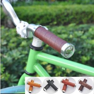 本革風パンチング デザイン 自転車 ハンドル バーグリップ 22.2mm doumotosyouten