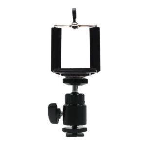 カメラのホットシューに装着できるスマートフォン専用クレードル   サイズ: 約135(H)X52(W...