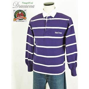 古着 シャツ BARBARIANバーバリアン 紫×白 ラガー シャツ 100%コットン XS カナダ製 ラグビー シャツ 古着