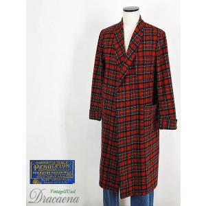 メンズガウン古着 ペンドルトンPendleton 70s USA製 タータンチェック柄 ウールガウンロングコート(羽織りコート) Mサイズ 赤ベース