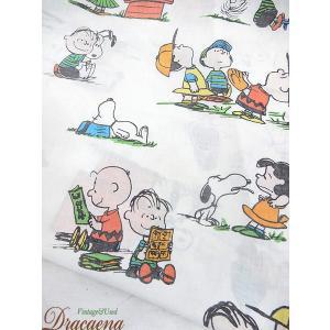 古着 雑貨 PEANUTS スヌーピー SNOOPY キャラクター ベッド シーツ カバー リメイク生地としても 小物 雑貨の写真