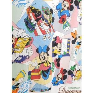 古着 雑貨 Disney ディズニー 可愛い ミニーちゃん 大集合!! キャラクター ベッドシーツ (カバー) リメイク生地としても 雑貨 古着の写真