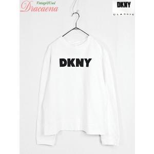 レディーススウェット古着 DKNY ダナキャランニューヨーク  カジュアル シンプル ロゴ 白 スウェット L|dracaena