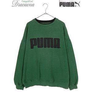 古着 スウェット 90s PUMA プーマ BIG ロゴ パッチ スウェット トレーナー 緑 XL ...