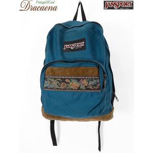 古着 バッグ USA製 JANSPORT ジャンスポーツ ボトムレザー ゴブランテープ付き ナイロン リュックサック バックパック 雑貨 古着|dracaena