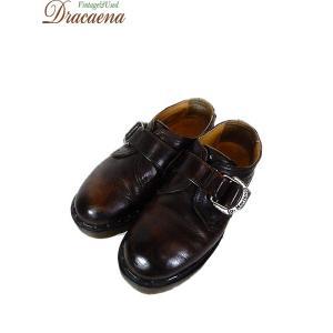 古着 シューズ ENGLAND製 Dr.Martens ドクターマーチン モンク ストラップ デザイン レザー シューズ 茶 UK5 (24cm位) 靴 古着|dracaena