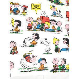 雑貨 古着 70s USA製 Snoopy スヌーピーと仲間たち キャラクター ベッドシーツ カバー TWIN ファブリック 古着|dracaena