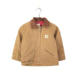 キッズ 古着 90s USA製 Carhartt 裏地キルティング ブラウン ダック ワーク デトロイト ジャケット 6歳位 子供服 古着 dracaena