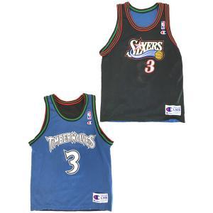 キッズ 古着 Champion NBA No.3 WOLVES MARBURY × 76ers IVERSON リバーシブル メッシュ タンクトップ 子供服 古着 dracaena