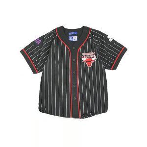 キッズ 古着 90s STARTER製 NBA CHICAGO BULLS ロゴ ワッペン 刺しゅう ベースボール 半袖 シャツ 10歳以上 子供服 古着 dracaena