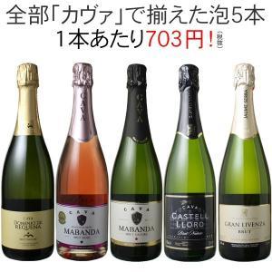 【送料無料】ワインセット カヴァ 5本 セット 辛口 シャンパン製法 瓶内二次発酵 スパークリングワ...