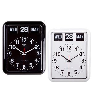 あすつく  TWEMCO(トゥエンコ) 掛け時計 パタパタカレンダー時計 BQ-12A ブラック 掛時計 置時計 レトロ 大きな時刻板|dragon-bee