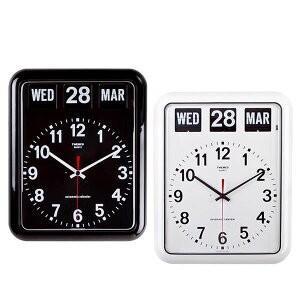 あすつく TWEMCO(トゥエンコ) 掛け時計 パタパタカレンダー時計 BQ-12A ホワイト 掛時計 置時計 レトロ 大きな時刻板|dragon-bee