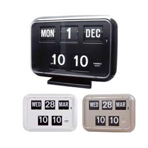 あすつく  TWEMCO(トゥエンコ) 置き・掛け兼用 パタパタカレンダー時計 QD-35 グレー デジタル時計 壁掛け時計 置時計 掛け時計 日付 曜日 時刻|dragon-bee