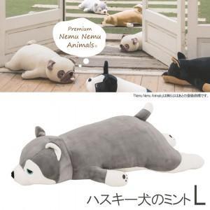 あすつく【送料無料】プレミアムねむねむ 抱きまくら Lサイズ ハスキー犬のミント ねむねむ 抱き枕 ハスキー