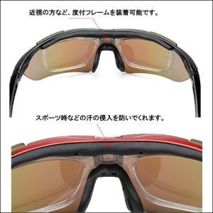 スポーツサングラス 偏光レンズ クリアレンズ  交換用5枚付き uvカット メンズ 度付きレンズ装着も可能|dream-brother|04