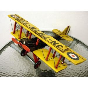 ブリキのおもちゃ 複葉機C・イエロー2|dream-f