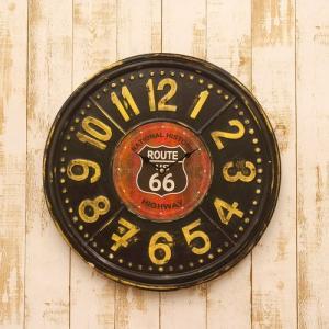 ウォールクロック(壁掛け時計) US「ROUTE 66」TIN CLOCK|dream-f