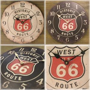 ウォールクロック(壁掛け時計) US「ROUTE 66」リジェクション(黒)|dream-f