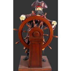 舵を執るキャプテンパイレーツ(海賊船長)・等身大フィギュア|dream-f