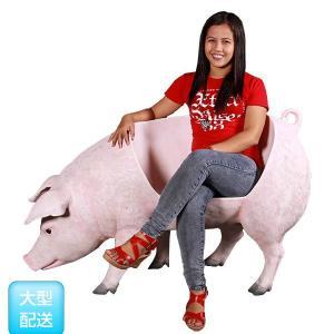 アニマルビッグフィギュアシリーズ【ブタ(豚)・ベンチ】(等身大フィギュア) ※この商品は別途送料かかります、ご注文後お知らせいたします dream-f