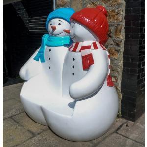 ビッグフィギュアシリーズ【スノーマンのベンチ】雪だるま サタクロース(等身大フィギュア)※この商品は別途送料かかります、ご注文後お知らせいたします|dream-f
