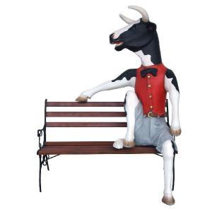 牛の紳士(ウシ)  シッティング with ベンチ・等身大フィギュア     ※この商品は別途送料かかります、ご注文後お知らせいたします dream-f