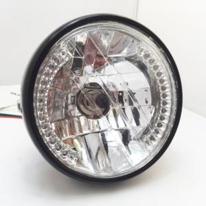 ハーレー アメリカン ヘッドライト LEDウインカー 一体型(ブラック) 汎用|dream-japan