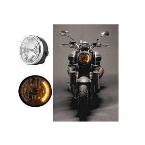 ハーレー アメリカン ヘッドライト LEDウインカー 一体型(シルバー) 汎用|dream-japan