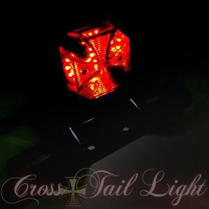 バイクテールランプ クロステール ミニ十字型 LED 個性派 汎用 ナンバー灯付 アメリカン マグナ ジャズ  dream-japan