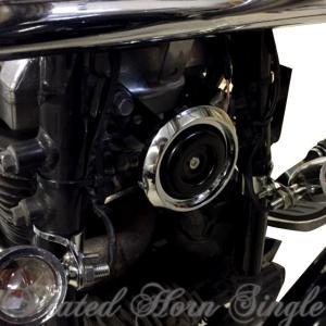 バイク シングルホーン ブラック・ メッキ アメリカン 直径90mm 簡単装着可能 【車検対応】100db|dream-japan