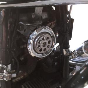 バイク シングル ホーン メッキ アメリカン 直径85mm 簡単装着可能 【車検対応】105db|dream-japan
