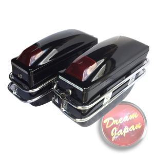 バイク用 ハードケース サイドBOX 左右セット ブラック 汎用 /取り付けフック付き サイドバッグ/ネイキッド/アメリカン dream-japan