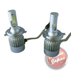 車・バイク LEDヘッドライトバルブ 純白色 H4型 激光6000K 2灯/冷却ファン内臓/かんたん取り付け/高寿命/3800LM|dream-japan