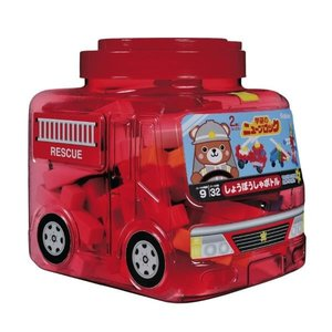 ニューブロック しょうぼうしゃボトル  赤透明の消防車型ケース!消防車はもちろん、組み立てロボットや...