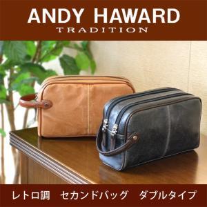 セカンドバッグ メンズ おしゃれ 50代 40代 30代  メンズ セカンドバック レトロ調 ダブルタイプ 25.5cm 日本製 ANDY HAWARD 25815|dream-realize
