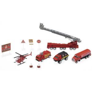 ダイキャスト 消防チーム  火災現場で活躍する消防車両と標識のセット  パッケージサイズ: 320m...