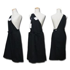 ワンショルダー型ロングエプロン 黒 おしゃれでかわいいのでサロンなど お店のユニフォームや制服にも 業務用 ブラック dream-realize