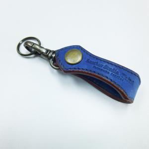 福山レザー 藍染キーホルダー ヌエ 青色の革 鍵の着脱が簡単なナスカンタイプ キーリング ハンドメイド革製品 青色 メンズ レディース男性用 女性用|dream-realize