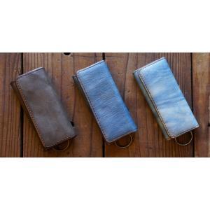 福山レザー 藍染キーケース クレ マチが厚めで少し大きな鍵も付けられます 4連キーリングタイプ ハンドメイド革製品 青色 メンズ レディース男性用 女性用 dream-realize