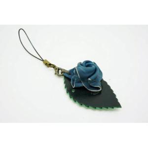 福山レザー 藍染薔薇ストラップ 携帯電話やスマホに ハンドメイド革製品 青色 メンズ レディース男性用 女性用|dream-realize