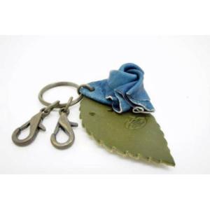 福山レザー 藍染薔薇キーホルダー 鍵の着脱が簡単なナスカンタイプのキーリング ハンドメイド革製品 青色 メンズ レディース男性用 女性用 dream-realize