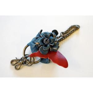 福山レザー 藍染花キーホルダー 鍵の多い方にピッタリのキーリング ハンドメイド革製品 青色 メンズ レディース 男性用 女性用 dream-realize
