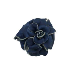 福山レザー 藍染花ブローチ コサージュとしても使えるブローチピンとクリップの2wayタイプ ハンドメイド革製品 青色 レディース 女性用|dream-realize