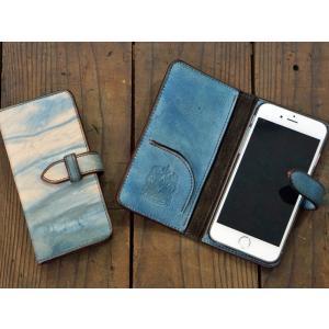 福山レザー iPhone6用手帳型スマホケース カバー ハンドメイド革製品 青色|dream-realize