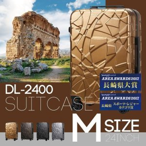 スーツケース キャリーケース TSAロック Wキャスター搭載 軽量 細フレーム ハード DL-2400(Origami) Mサイズ 1年間修理保証
