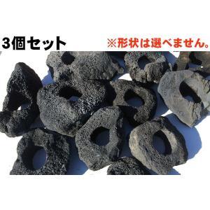 3個セット!【1個=1334円!】 黒い溶岩石 約15〜20センチ(6cm穴あき) 水槽(アクアリウ...